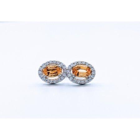 Earrings 1.03ctw Yellow Sapphire 1/5ctw Diamond 14kw 119110220