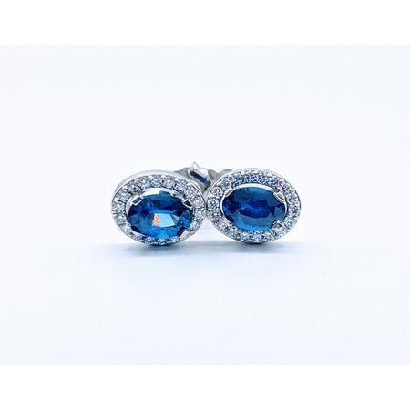 Earrings 1.14ctw Sapphire 1/5ctw Diamond 14kw 119110223