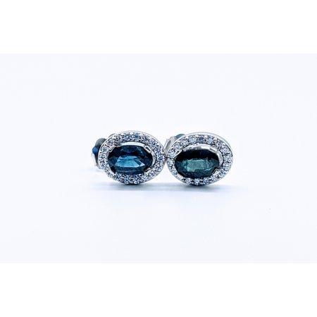 Earrings 1.10ctw Sapphire 1/5ctw Diamond 14kw 119110222