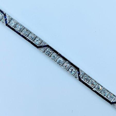 Bracelet Vintage Diamond(8.70ctw)Syn Sapphires Platinum 540-00037