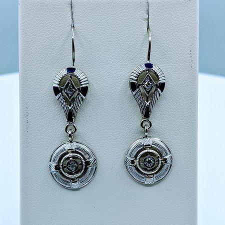 Earrings Vintage Diamond(.08ctw)Enamel 14kw 420-00122