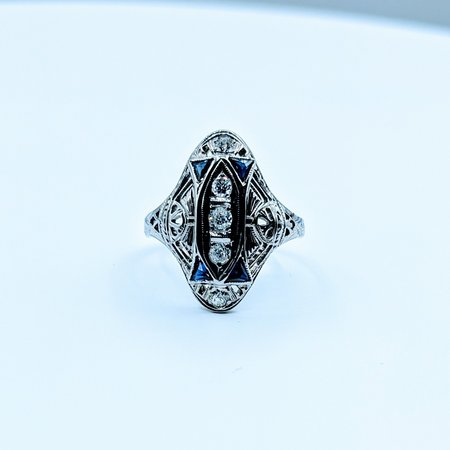 Ring Vintage Diamond .25ctw Sapphire 18kw Sz6