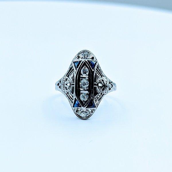 Ring Vintage Diamond(.25ctw)Syn Sapphire 18kw Sz6 410-01377