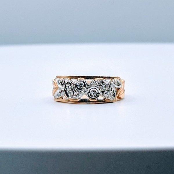 Ring Vintage Diamond(.05ctw)14ktt Sz6 4pc-1