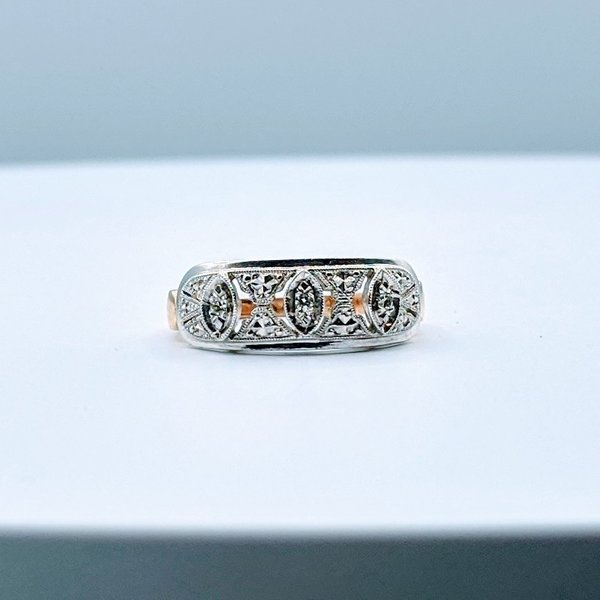 Ring Vintage Diamond(.05ctw)14ktt Sz6 4pc-3