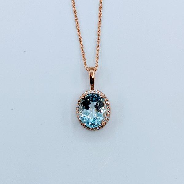 Pendant 10x8mmAquamarine & Diamond 14kr 119110219