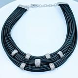 Necklace Belle Etoile Black Rubber & Cz SS 219120046