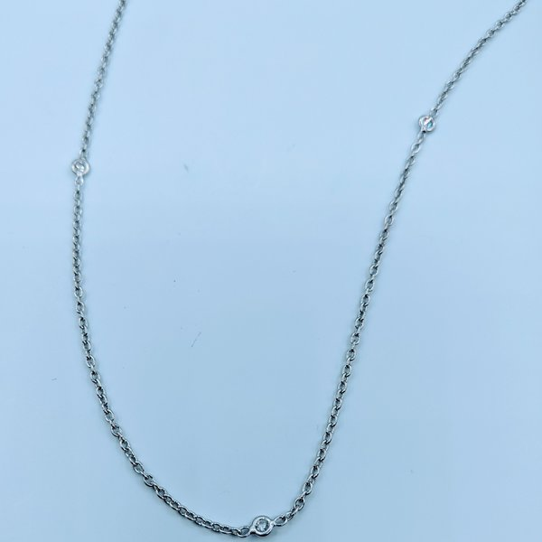 "Necklace 17"" 0.50ctw Diamond Bezel 14kw 120010021"