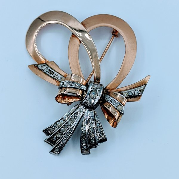 Pendant Brooch 14ky Vintage Bow Rose Cut Diamonds 0.20ctw 220010026