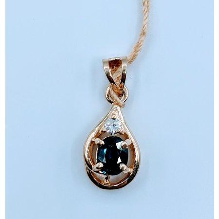 Pendant .37ct Sapphire .045ct Diamond 14ky 120010013