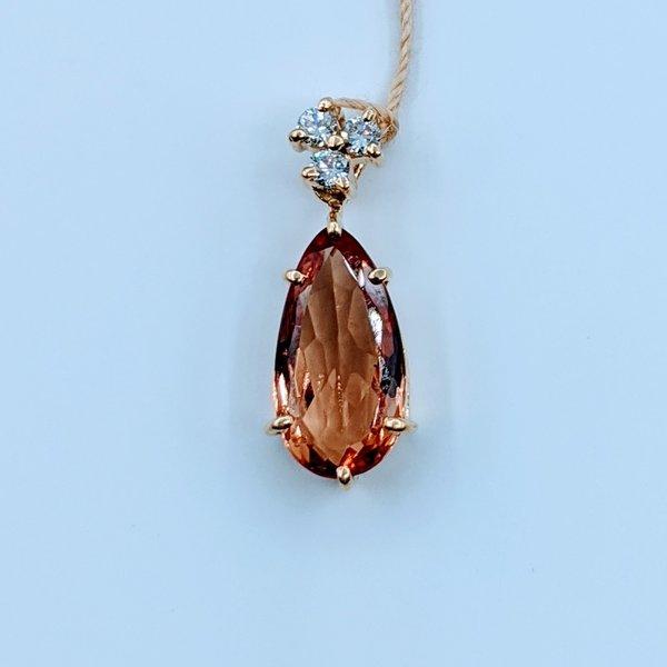 Pendant 1.76ct Peach Imperial Topaz .08ctw Diamond 18ky 120010015