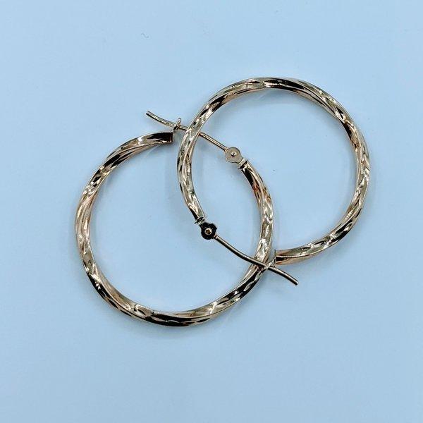 Earrings Diamond Engraved Hoop 10ky 120010023