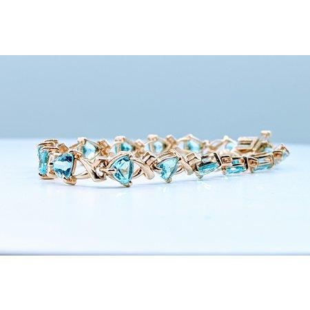 Bracelet 8.80ctw Trillion Blue Topaz 10ky 7'' 419110827