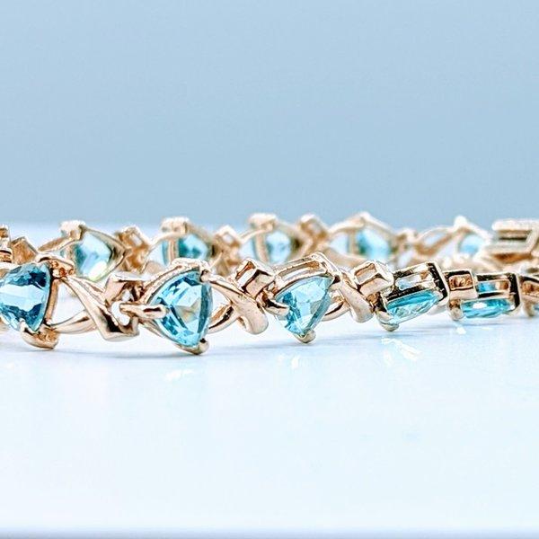 "Bracelet 8.80ctw Trillion Blue Topaz 10ky 7"" 419110827"