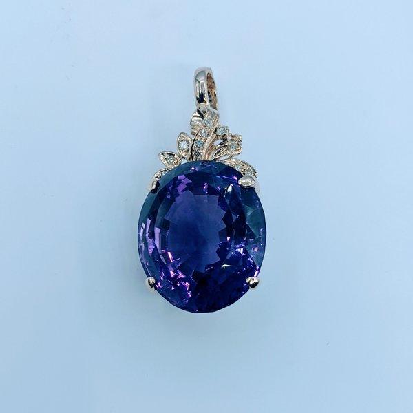 Pendant Amethyst 44ct Diamond .12ctw 14ky 22001033