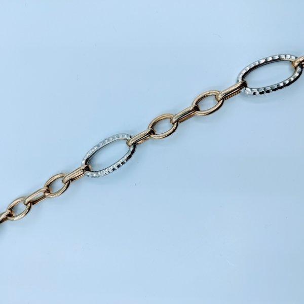 """Bracelet Curb Link Hammered Metal 14kyw 7.5"""" 220020040"""