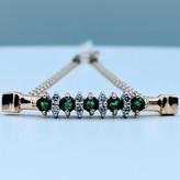"Bracelet .25ctw Emerald .08ctw Diamond 7"" 14ky 220020099"