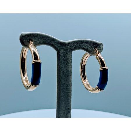 Earrings Hoop Blue Accent 14ky 120020030