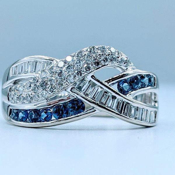 Ring .65ctw Diamond .25ctw Sapphire 14kw Sz7 120030003