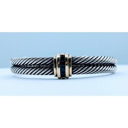 Bracelet David Yurman Cable .50ctw Sapphire 14ky 120020018