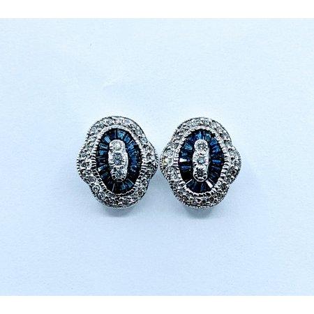 Earrings .12ctw Diamond & Sapphire 14kw 120020019