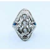 Ring Vintage Diamond .22ctw Sapphire 18kw Sz6.25