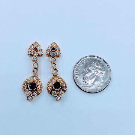 Earrings .20ctw Sapphire .80ctw Diamond 14ky 120050180