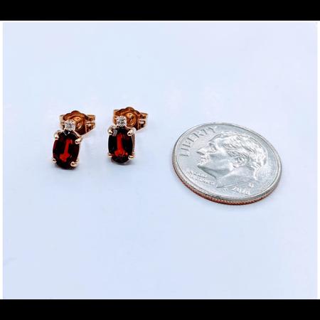 Earrings 4x6mm Oval Garnet .02ctw Diamond 14ky 120050133