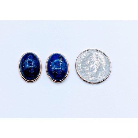 Earrings 14x10mm Lapis Studs 14ky  120030100