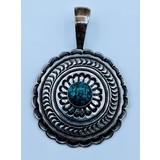 Pendant 12mm Round Torquoise Sterling 220060025