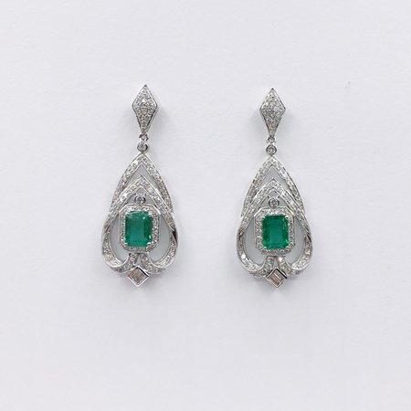 Earrings 2.61ctw Emerald Cut Emeralds 2.12ctw Diamonds 18kw 120070033