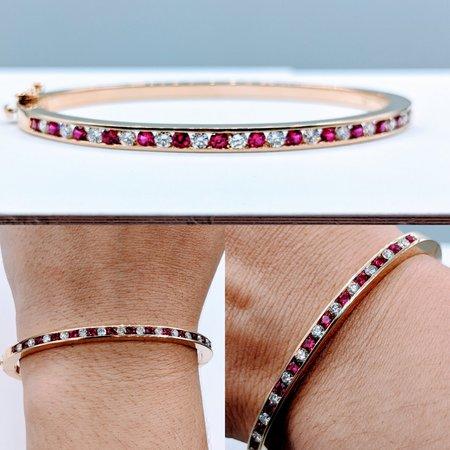 """Bracelet .65ctw Round Diamond .70ctw Round Ruby 14ky 7.5"""" 220070005"""