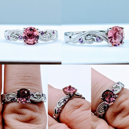 Ring .80ct Tourmaline & Diamond, Sapphire Platinum Sz8 119110206
