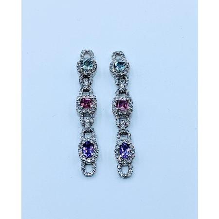 Earrings 1.55ctw Diamond Diamond 1.5ctw Aquamarine & Pink Tourmaline & Amethyst 14kw 620070015