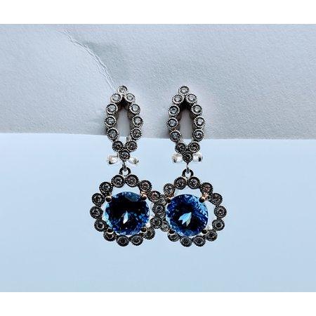 Earrings .66ctw Round Diamond 4.54ctw Tanzanite 18kw 620070013
