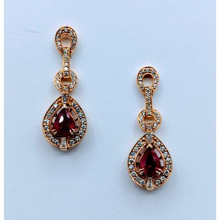 Earrings .89ctw Round Diamond 2.73ctw Ruby 14ky 620070012
