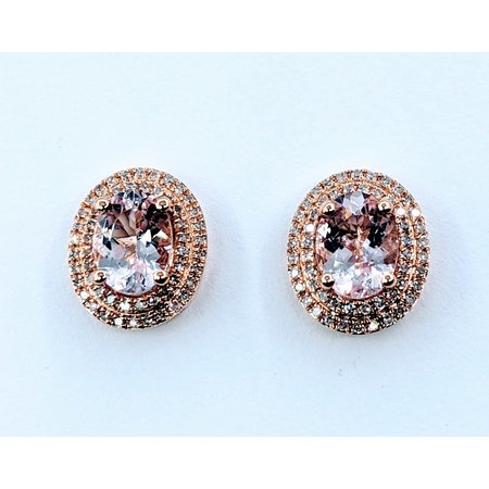 Earrings .34 DI Diamonds 2.09 CT MORGANITE 14KR 120080012