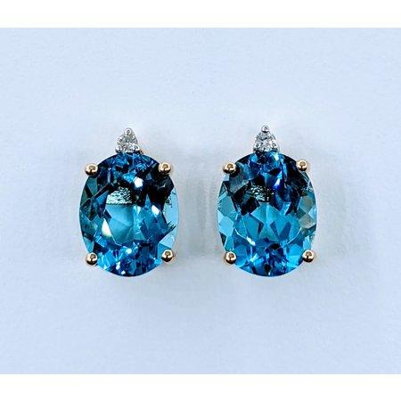 Earrings 04. DI Diamonds 6.82. C BLUE TOPAZ 14K 120080010