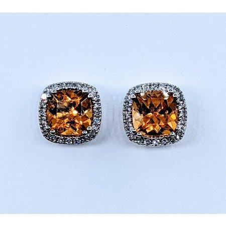 Earrings .19 DI Diamonds 1.81 CT CITRINE 14KW 120080003