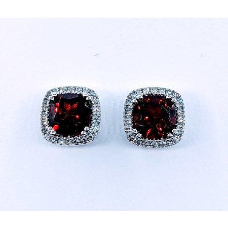 Earrings .17 DI Diamonds 2.08. C GARNET 14KW 120080004