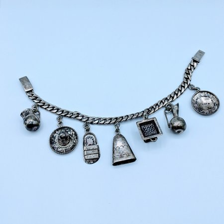 "Charm Bracelet Mexican Themed Charms SS 6.75"" 220080052"