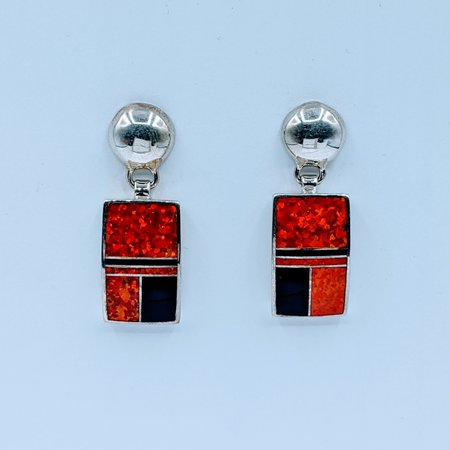 Earrings Red Opalite Inlay SS 220080012