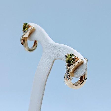Earrings .10ctw Round Diamonds 4.5mm Round Peridot 14ky 220080067
