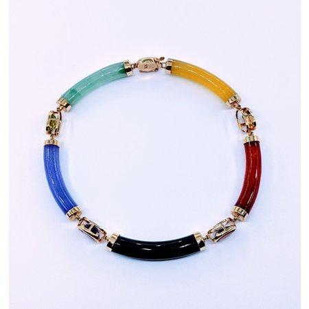 """Bracelet Jade and Semi Precious Gems 14ky 7.5"""" 220080003"""