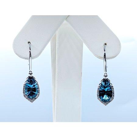 Earrings .33 DI Diamonds 5.68 CT LONDON BLUE TOPAZ 14KW 120080013