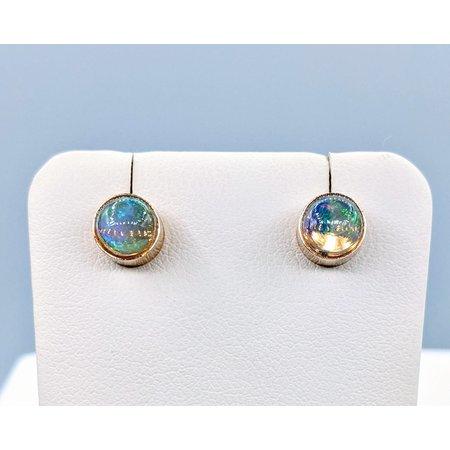 Earrings 6mm Opal Bezel 14ky 120020300