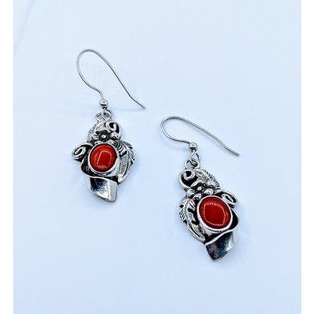 Earrings Native American Drop Coral SS 220090013