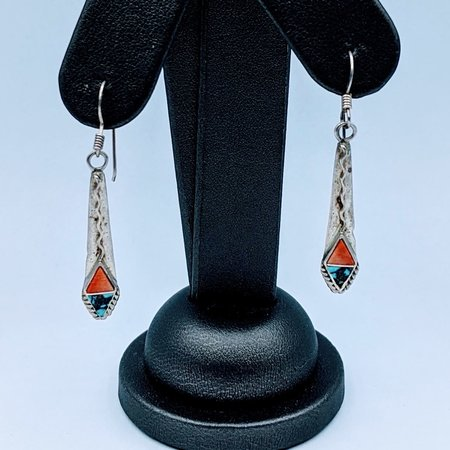 Earrings Tourquoise & Coral Dangle Silver 120090201