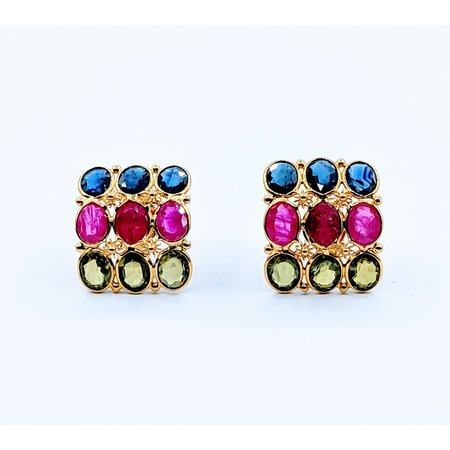 Earrings 2.70ctw Ruby, Sapphire and Peridot 21ky 220090026