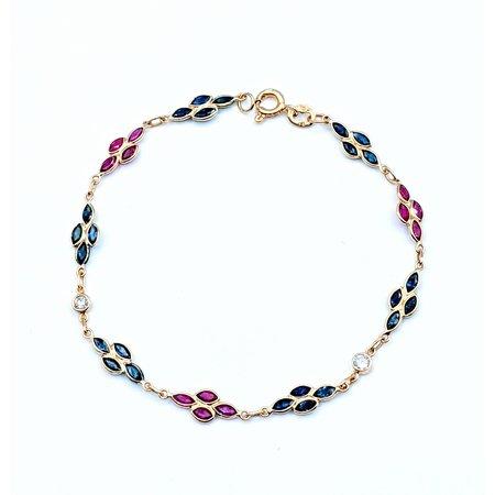 "Bracelet .20ctw Diamond 2.50ctw Ruby & Sapphire 18ky 6.75"" 120090290"
